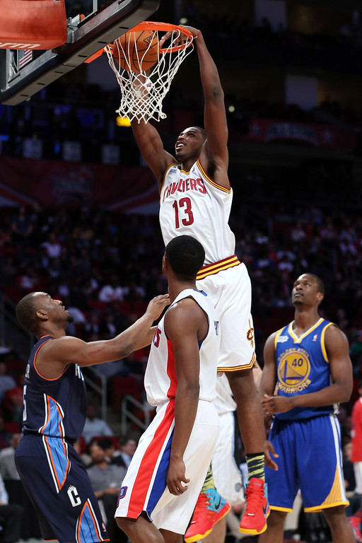 . HOUSTON, TX - FEBRUARY 15:  Tristan Thompson #13 of the Cleveland Cavaliers and Team Chuck goes up for a dunk in the BBVA Rising Stars Challenge 2013 part of the 2013 NBA All-Star Weekend at the Toyota Center on February 15, 2013 in Houston, Texas.  (Photo by Ronald Martinez/Getty Images)