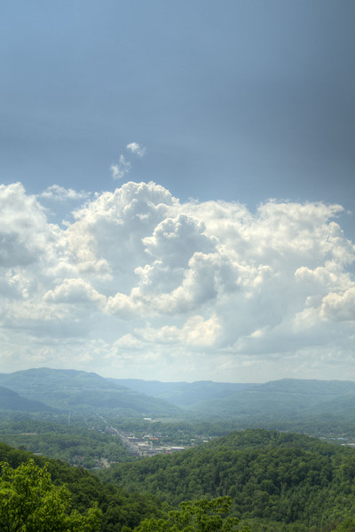 Thick clouds linger over the valleys and mountains to the west of Cumberland Gap National Historical Park in Middlesboro, KY on Saturday, May 9, 2015. Copyright 2015 Jason Barnette