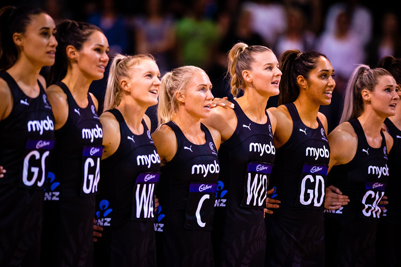 The Ferns during the National Anthem before the Constellation Cup Series at Horncastle Arena in Christchurch, NZ on 13 October 2019. (C) Copyright images:  Clare Toia-Bailey / www.image-central.co.nz