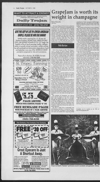 Daily Trojan, Vol. 129, No. 24, October 02, 1996