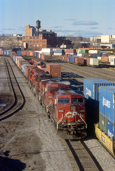 Intermodal transfers to and from port meet in CP's Hochelaga Yard.