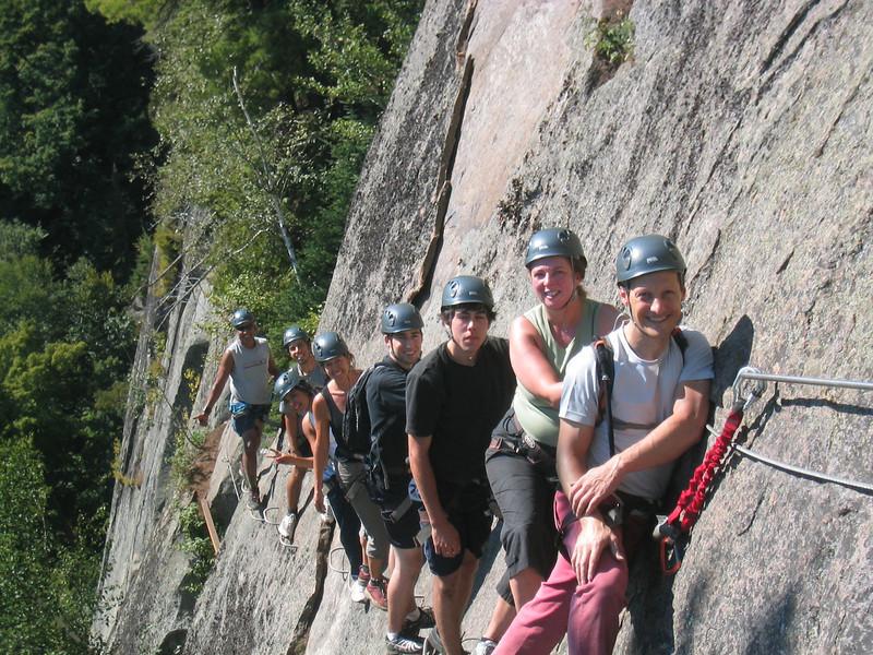 Lined Up on a Cliff. Via ferrata du Diable, park national du Mont-Tremblant
