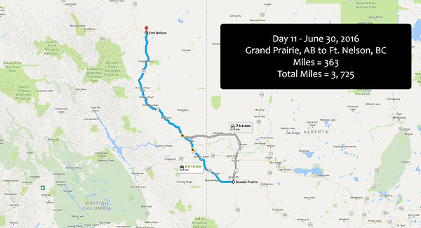 Day 11 - June 30, 2016 - Grand Praire to Ft. Nelson