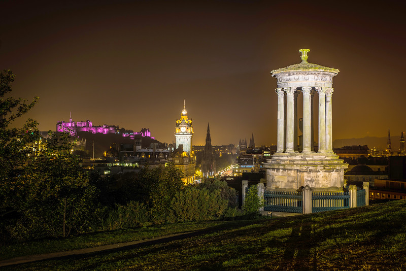 Dugald Stewart Monument in Full Illumination