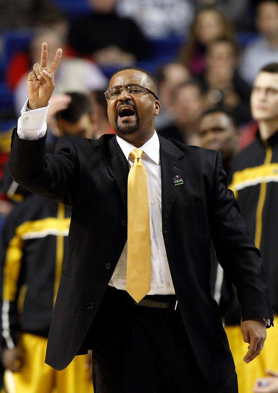 . Missouri head coach Frank Haith reacts during the first half their second-round NCAA college basketball tournament game against Colorado State, Thursday, March 21, 2013, in Lexington, Ky. (AP Photo/James Crisp)
