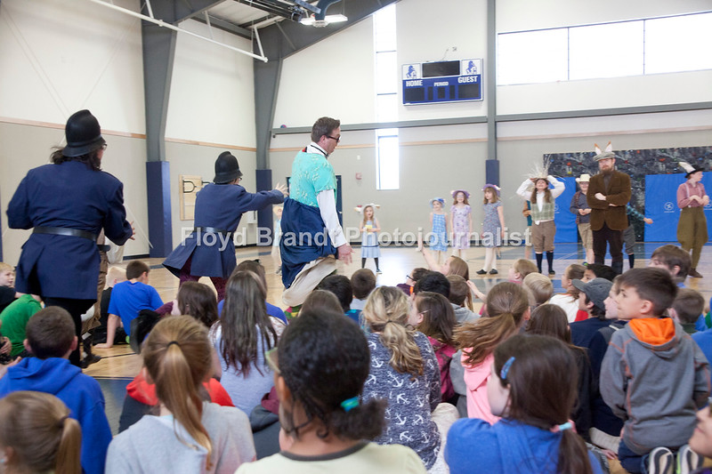 """Havre Daily News/Floyd Brandt  Montana Actors Theatre visit to Havre Schools Friday brings laughter to students at Sunnyside School. MAT, promoting their newest play """"The Wind In the Willows"""" student got a taste of the upcoming play with Casey Pratt playing Toad as he is chased bt cops through the crowd of excited students."""