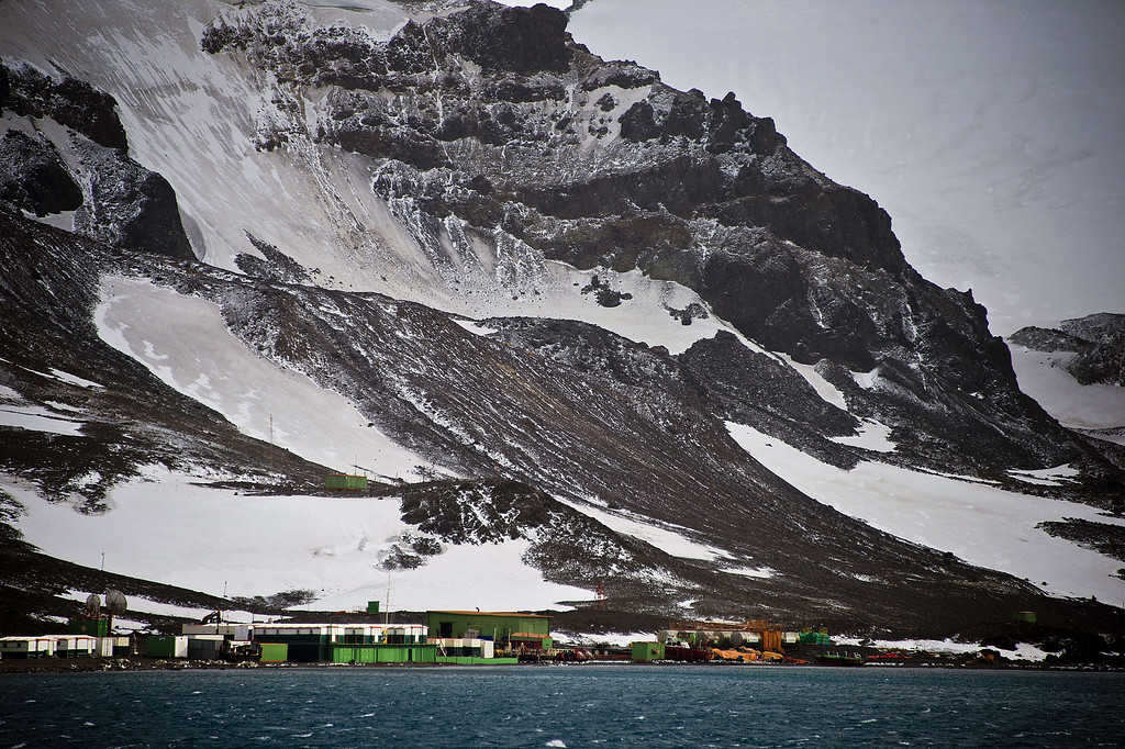 . View of the Brazilian Comandante Ferraz provisional military base from the Brazilian Navy\'s Oceanographic Ship Ary Rongel in Antarctica on March 7, 2014. The military base was destroyed by a fire that killed two soldiers on February 25, 2012.   AFP PHOTO /VANDERLEI ALMEIDA /AFP/Getty Images