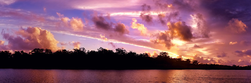 Magnificent red cloud coastal sunrise view. Australia.