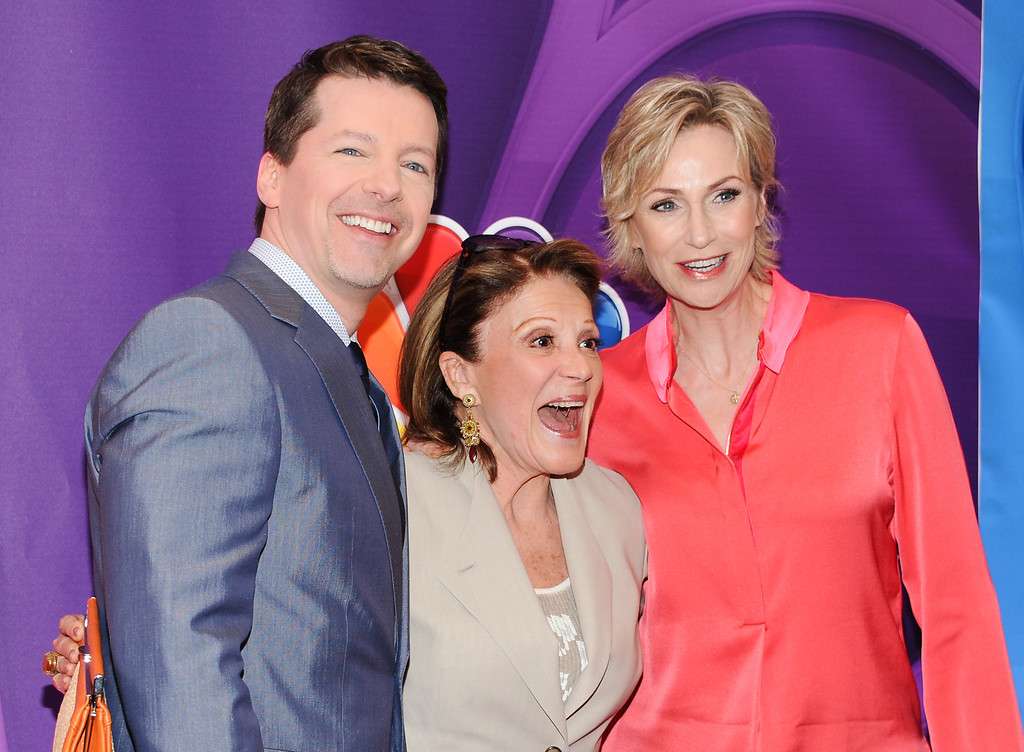 . Actors Sean P. Hayes, left, Linda Lavin and Jane Lynch attend the NBC Network 2013 Upfront at Radio City Music Hall, Monday, May 13, 2013, in New York. (Photo by Evan Agostini/Invision/AP)