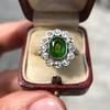 4.38ctw Art Deco Russian Demantoid & Diamond Cluster Ring 29
