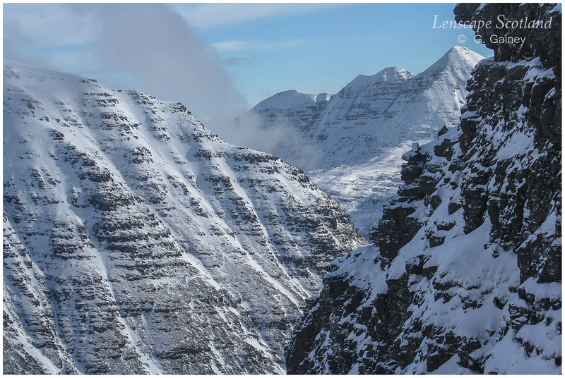 snow-covered Liathach from Beinn Alligin, Torridon