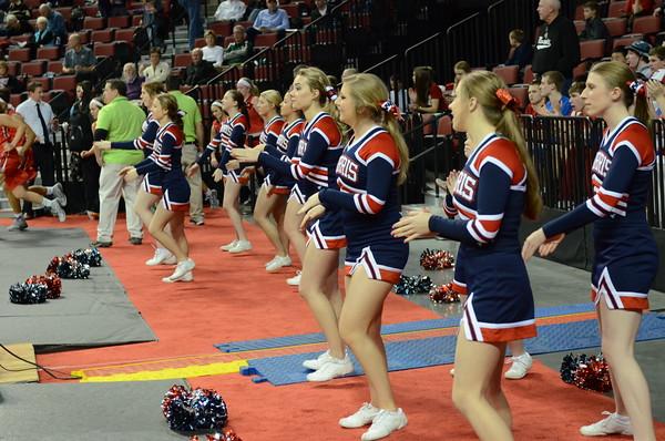 Cheerleaders at Girls State BB vs York