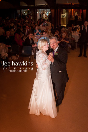 Bride and groom sharing their first dance at their wedding reception
