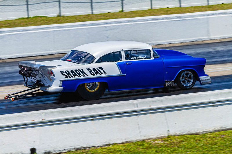 Todd Abrams 582 cubic foot procharged dragster Shark Bait racing down the track at the Super Chevy Show at Palm Beach International Raceway in Jupiter on Saturday, May 25, 2019.[JOSEPH FORZANO/palmbeachpost.com]