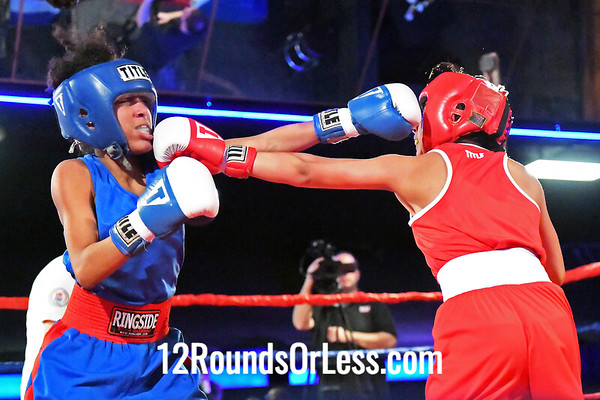 Bout #7:  Sirenea Vasquez, Blue Gloves, Team Cartel, Toledo, OH   vs   Yazmin Rosales, Red Gloves, UCC BC, Milwaukee, Wisconson, 106 Lbs.