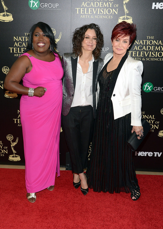 . (L-R) TV personalities Sheryl Underwood, Sara Gilbert and Sharon Osbourne attend The 41st Annual Daytime Emmy Awards at The Beverly Hilton Hotel on June 22, 2014 in Beverly Hills, California.  (Photo by Jason Kempin/Getty Images)
