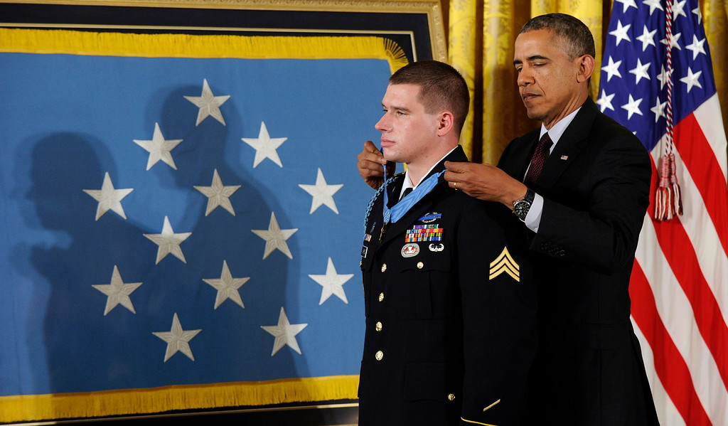 . President Barack Obama awards the Medal of Honor to former Army Sgt. Kyle J. White during a ceremony in the East Room of the White House in Washington, Tuesday, May 13, 2014. (AP Photo)