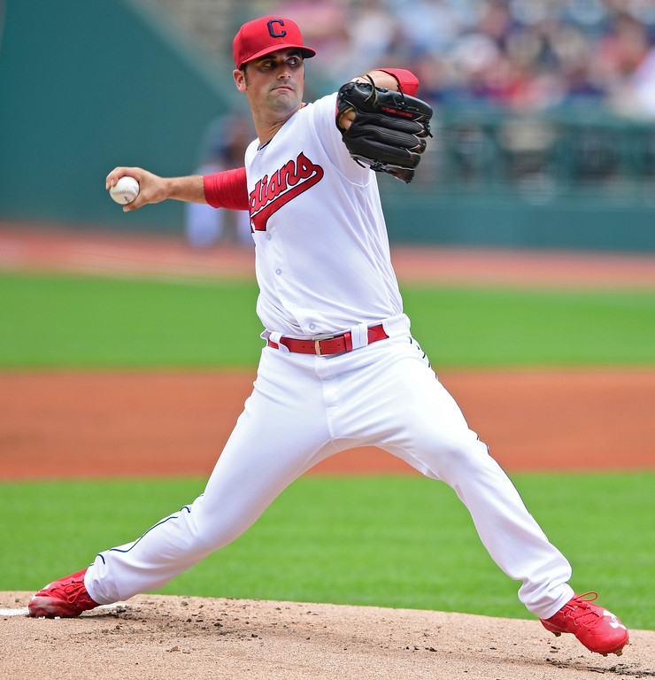 . Cleveland Indians starting pitcher Adam Plutko delivers in the first inning of a baseball game against the Detroit Tigers, Sunday, June 24, 2018, in Cleveland. (AP Photo/David Dermer)