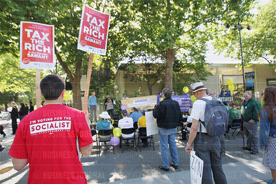Protestors from Mercy for Animals, picket peaceful outside the Amazon shareholders meeting at the Seattle Repertory Theater in Seattle