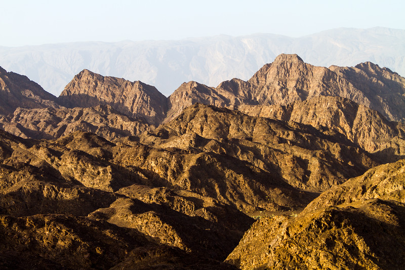 View of mountain ranges at national park - Oman