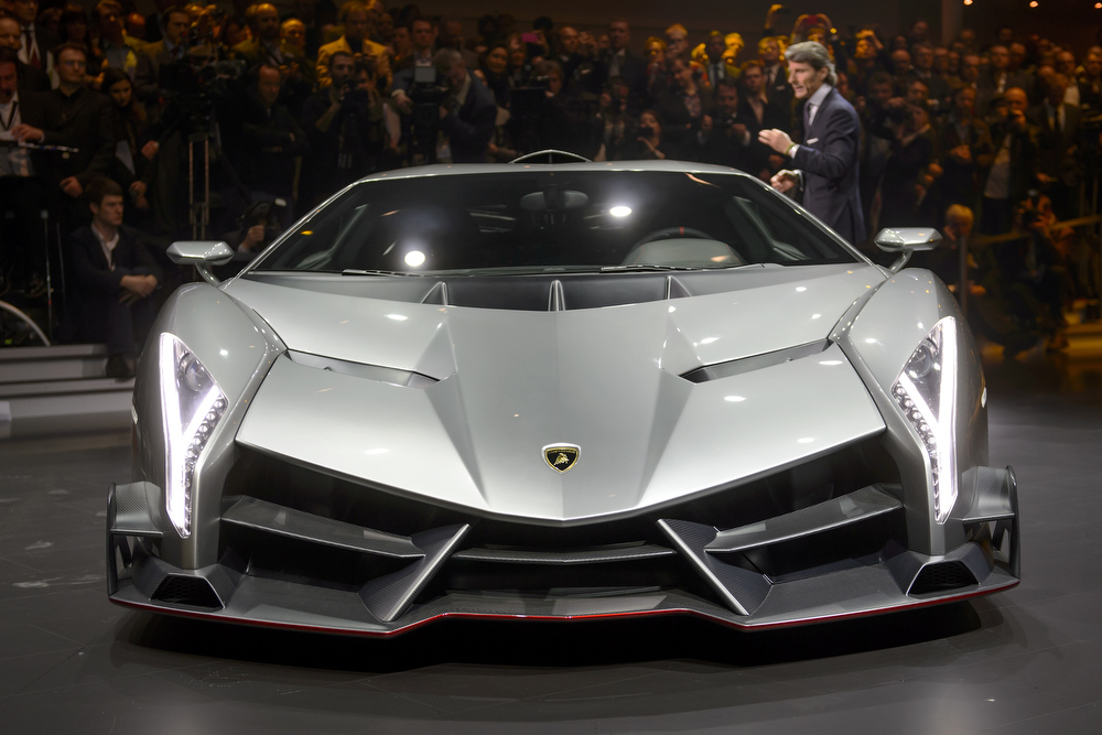 . The new Lamborghini Veneno is introcuded by CEO and Chairman Stephan Winkelmann during a preview of Volkswagen Group (VW) on March 4, 2013 ahead of the Geneva Car Show in Geneva.  FABRICE COFFRINI/AFP/Getty Images