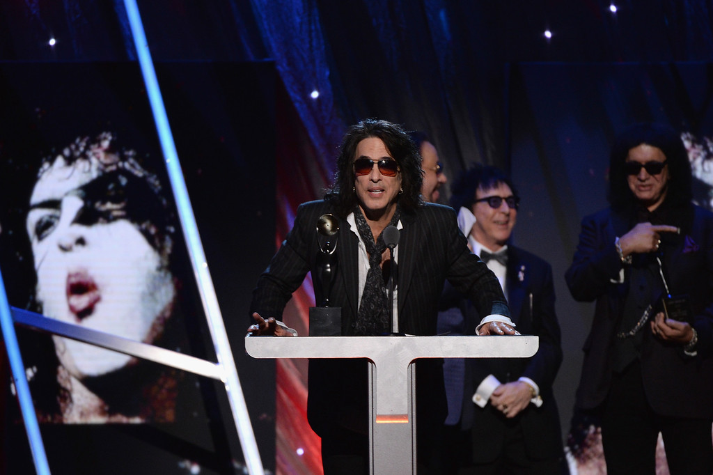 . Inductee Paul Stanley of KISS speaks onstage at the 29th Annual Rock And Roll Hall Of Fame Induction Ceremony at Barclays Center of Brooklyn on April 10, 2014 in New York City.  (Photo by Larry Busacca/Getty Images)