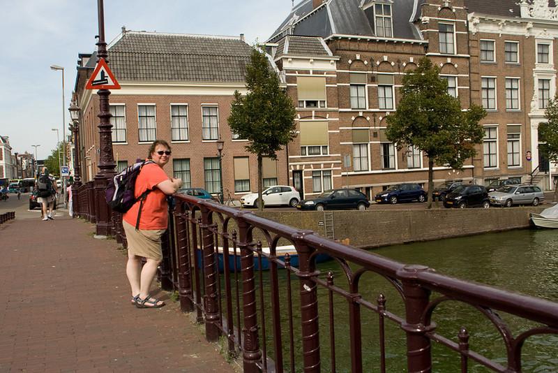 Mary on the bridge at Haarlem. It was really hot htat day (90?) so I was pretty sweaty.
