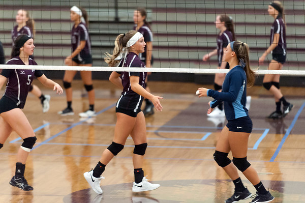 09/24/18 Wesley Bunnell | Staff Bristol Central volleyball defeated Middletown on Monday evening at Bristol Central High School. Brooke Soucy (5), L and Peyton Gregor (7) shake hands at the net with Middletown players.
