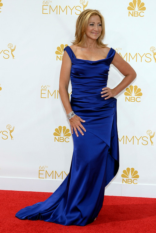 . Edie Falco on the red carpet at the 66th Primetime Emmy Awards show at the Nokia Theatre in Los Angeles, California on Monday August 25, 2014. (Photo by John McCoy / Los Angeles Daily News)