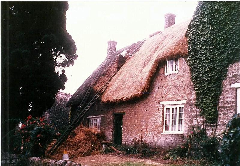 Badbury Farmhouse with Thatcher Jack Grey 1950s