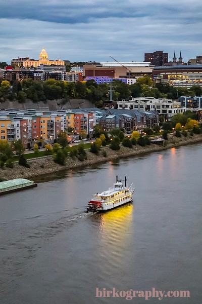 Riverboat cruising under the Capitol.  Saint Paul, MN