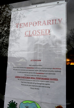 4/9/2020 Mike Orazzi | Staff Cheng's Kitchen is temporarily closed because of COVID-19 in downtown New Britain on Thursday.