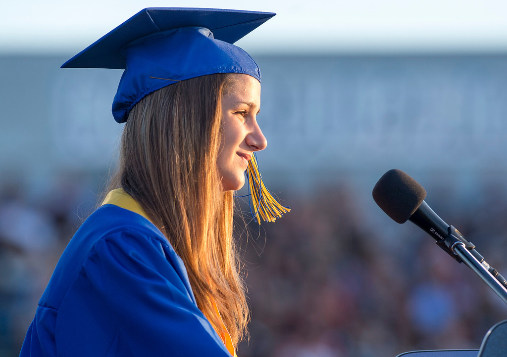 . Jamie Becker speaks during California High graduation at their Whittier campus stadium June 13, 2013.   (SGVN staff photo by Leo Jarzomb)
