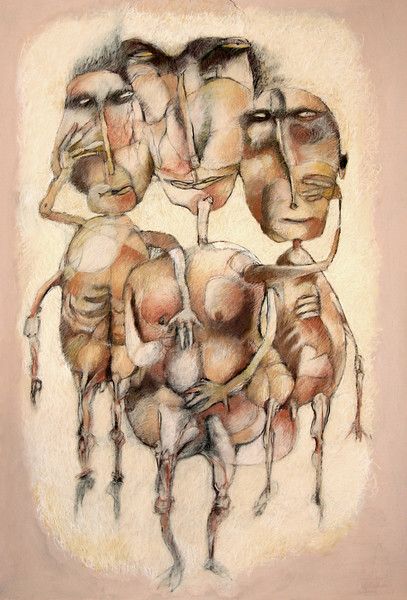 Woman with her boyfriends 30x40)