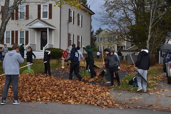 Freshman leaf raking