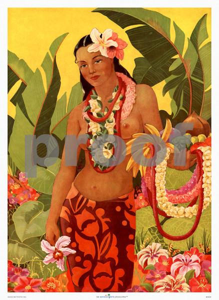 342: 'Hawaiian Girl' Menu Cover. Ca. 1948.
