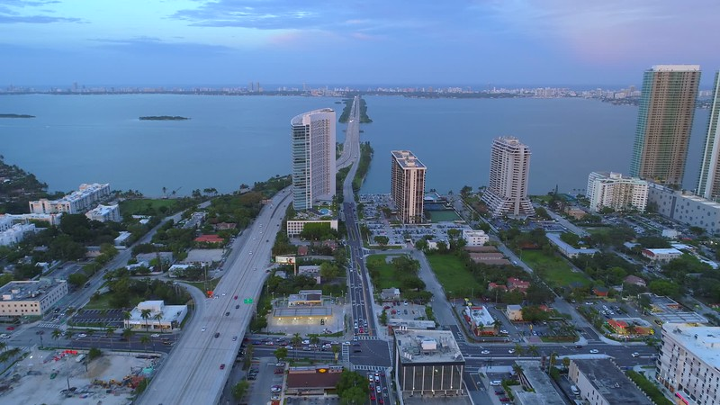 Aerial approach Miami Julia Tuttle Causeway Biscayne Bay