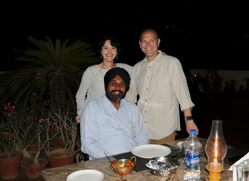 Having dinner with our driver Bal on our next to last night in India.