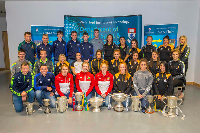 WIT holds event to honour 2016 All Ireland medal winning students. front row from left, Damien Young, Backtoom of the Tipperary Hurling Team, Barry Whelan of the Waterford Under 21 Hurling Team, Mairead O'Shea, Michelle Nolan and Niamh O'Loughlin of the Carlow Junior Camogie team, Aine Gannon of the Kilkenny Senior Camogie Team, Michaela Nolan of the Kildare Ladies Football Team, Noelle Maher of the Kilkenny Intermediate Camogie team. Center Row, Michael Whelan of the Tipperary Minor Hurling Team, Damien Young, Backroom of the Tipperary Hurling Team, mambers of the  Kilkenny Senior Camogie Team Michelle Quilty (capt), Ann Dalton, Katie Power, Collette Dormer, Ann Marie Lennon, Julieann Malone and Ann Quinlan. Back Row. David Reilly, Meath Under 21 Hurling Team,  Willie Hahessy, Robbie Flynn,  Barry Whelan and Gavin Power of the Waterford Under 21 Hurling Team, Michael Whelan of the Tipperary Minor Hurling Team, Ann Marie Lennon, Miriam Walsh, Meighan Farrell, Colette Dormer, Jacqi Frisby of the Kilkenny Senior Camogie Team, Picture: Patrick Browne  Waterford Institute of Technology's presence and influence across Gaelic Games at a national level in 2016 has been very noticeable. In total there are 32 past and present WIT students on the respective playing panels that won All Ireland medals in 2016 and a further 4 members on the backroom management teams.   To honour this huge achievement, WIT GAA Club is paying tribute to these 36 past members on securing these prestigious national titles on Monday 3 October, 6.30pm at the WIT Arena.   Along with the players, the prestigious cups, including the All Ireland Senior Hurling Cup- Liam McCarthy, the All Ireland Senior Camogie Cup- O'Duffy, The All Ireland Minor Cup and the All Ireland Under 21 Hurling Cup- James Nowlan, will be on show on the night.