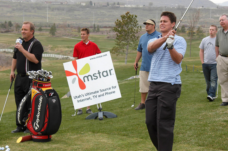 4/4/07 – This was our first day of the Mstar Short Game Challenge held every Wednesday at Thanksgiving Point.. Rod Zundel from KSL is on the left. Every Sunday night on SportsBeat they recap the week's event and winner.