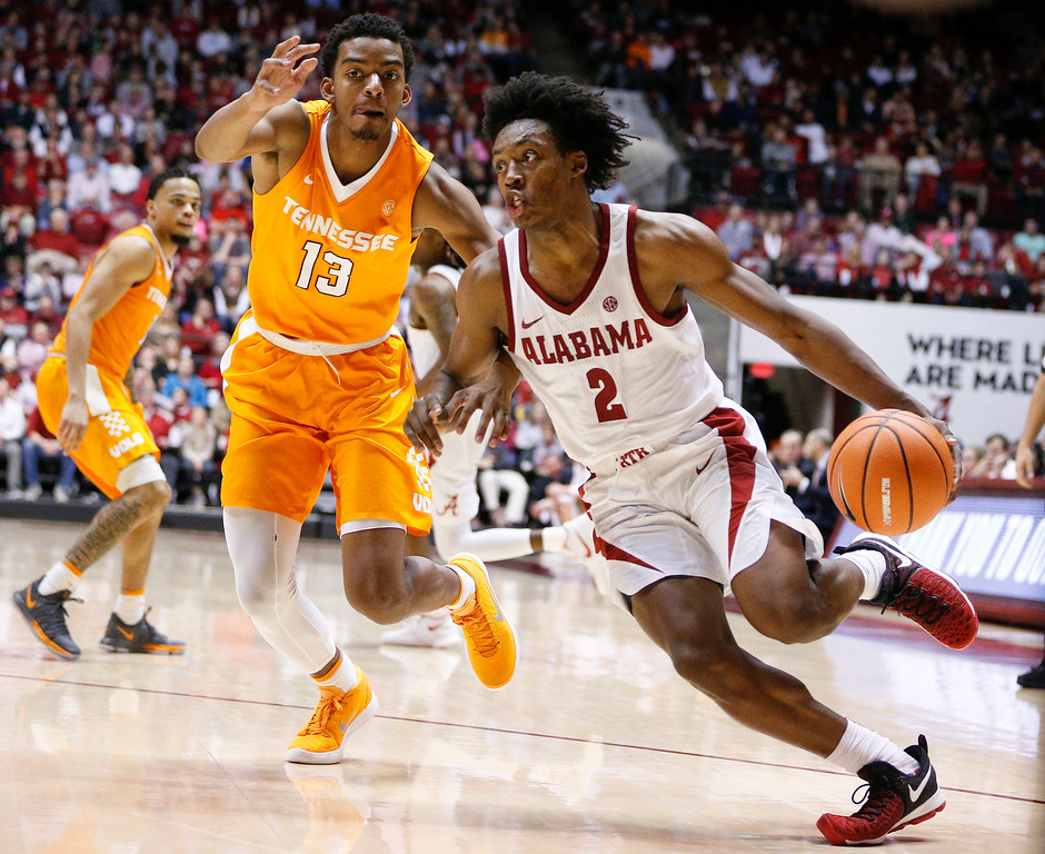 . Alabama guard Collin Sexton drives the ball to the basket against Tennessee during the second half of an NCAA college basketball game on Saturday, Feb. 10, 2018, in Tuscaloosa, Ala. Alabama won 78-50. (AP Photo/Brynn Anderson)