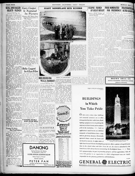 Southern California Daily Trojan, Vol. 21, No. 131, May 05, 1930