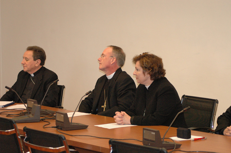 At the Feb. 12 meeting with Cardinal Kasper were, from left, The Rev. Donald McCoid, executive, ELCA Ecumenical and Inter-Religious Relations, Bishop Michael Burke, ELCA Southeastern Iowa Synod and Bishop Claire Burkat, ELCA Southeastern Pennsylvania Synod.