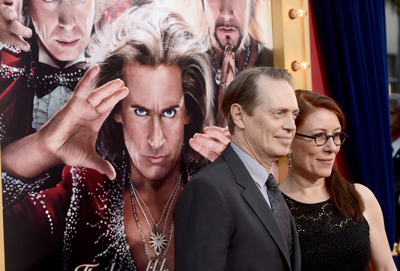 ". Actor Steve Buscemi (L) and Jo Andres attend the premiere of Warner Bros. Pictures\' ""The Incredible Burt Wonderstone\"" at TCL Chinese Theatre on March 11, 2013 in Hollywood, California.  (Photo by Kevin Winter/Getty Images)"