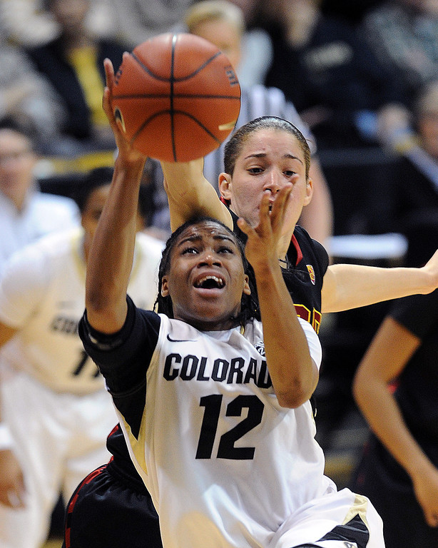 . Ashley Wilson of Colorado drives on Jordan Adams of USC   during the first half of the March 2, 2014 game in Boulder, Colo. (Class Grassmick/Daily Camera)
