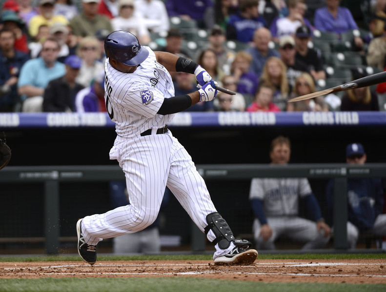 . Colorado Rockies Wilin Rosario (20) breaks his bat on a pitch in the first inning against the San Diego Padres April 7, 2013 at Coors Field. (Photo By John Leyba/The Denver Post)