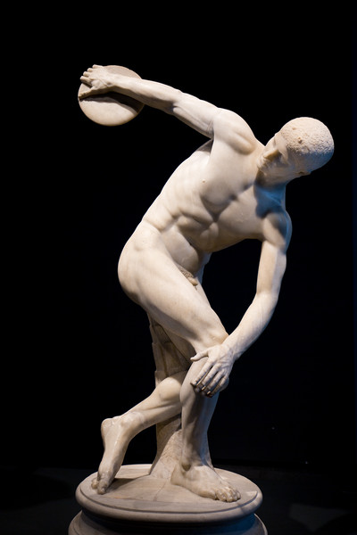 A first century AD Roman copy of Myron's Discus Thrower statue, or Discobolus, found on the Esquiline Hill in 1781. The original Greek bronze by Myron (c. 465 BC) is lost. In 1938 Adolf Hitler bought it, shipped it by rail to Munich and displayed it in the Glyptothek. It was returned in 1948 and now sits in National Roman Museum.