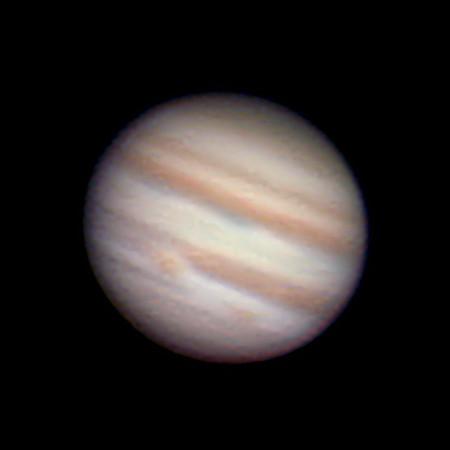Jupiter 29.12.2012 cca 3:30 SEČ - SkyWatcher 130/650, barlow 3x, MS Lifecam 5000 HD, stack cca. 4000 snímků