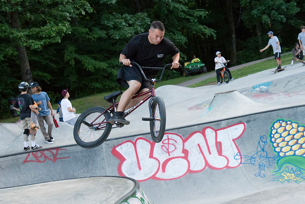 06/21/19 Wesley Bunnell | Staff New Britain held a grand opening for its Stanley Quarter Park Skate Park on Friday June 21, 2019. Ted Luciano performs tricks on his bmx.
