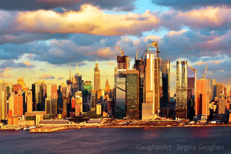 NYC Skyline Sundown Clouds